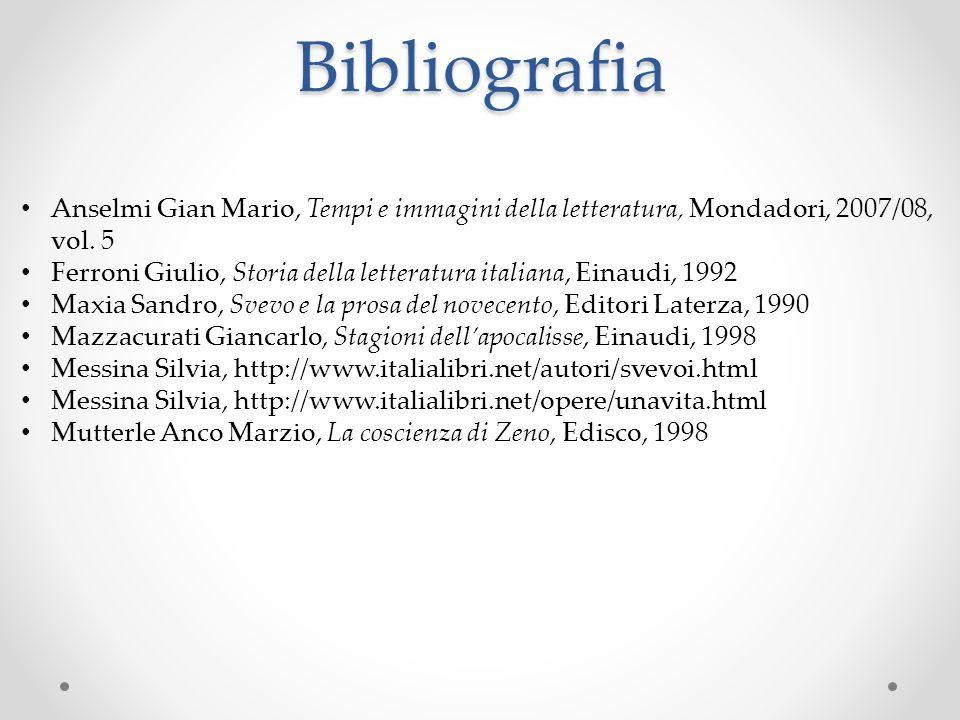 Bibliografia Anselmi Gian Mario, Tempi e immagini della letteratura, Mondadori, 2007/08, vol. 5 Ferroni Giulio, Storia della letteratura italiana, Ein