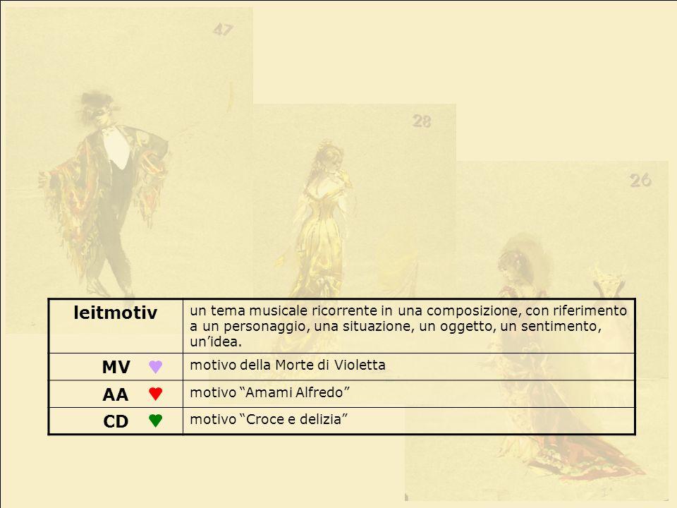 leitmotiv un tema musicale ricorrente in una composizione, con riferimento a un personaggio, una situazione, un oggetto, un sentimento, unidea. MV mot