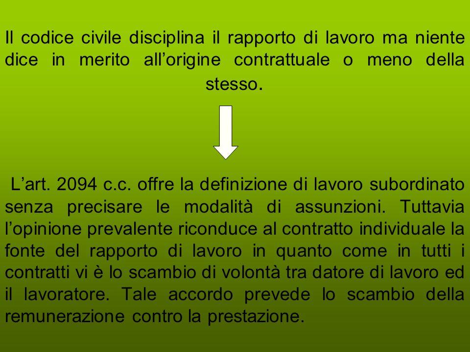 Il codice civile disciplina il rapporto di lavoro ma niente dice in merito allorigine contrattuale o meno della stesso. Lart. 2094 c.c. offre la defin