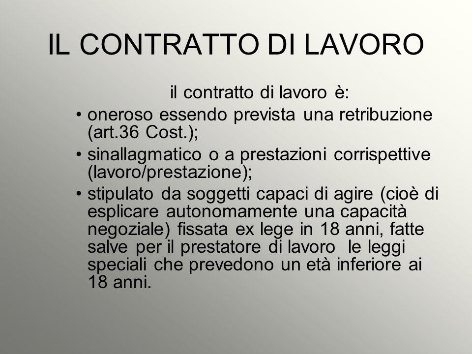 IL CONTRATTO DI LAVORO il contratto di lavoro è: oneroso essendo prevista una retribuzione (art.36 Cost.); sinallagmatico o a prestazioni corrispettiv