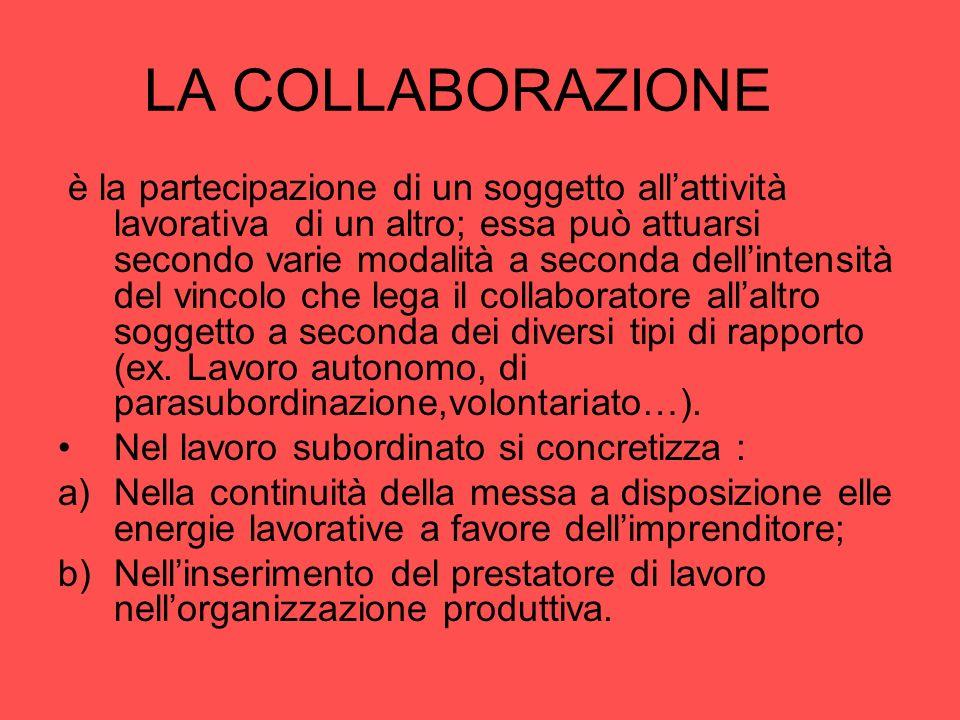 LA COLLABORAZIONE è la partecipazione di un soggetto allattività lavorativa di un altro; essa può attuarsi secondo varie modalità a seconda dellintens
