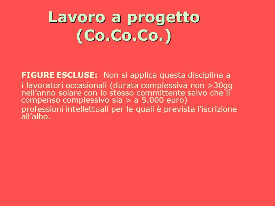 Lavoro a progetto (Co.Co.Co.) FIGURE ESCLUSE: Non si applica questa disciplina a i lavoratori occasionali (durata complessiva non >30gg nellanno solar