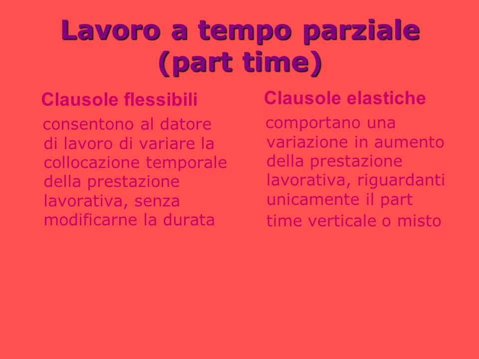 Lavoro a tempo parziale (part time) Clausole flessibili consentono al datore di lavoro di variare la collocazione temporale della prestazione lavorati
