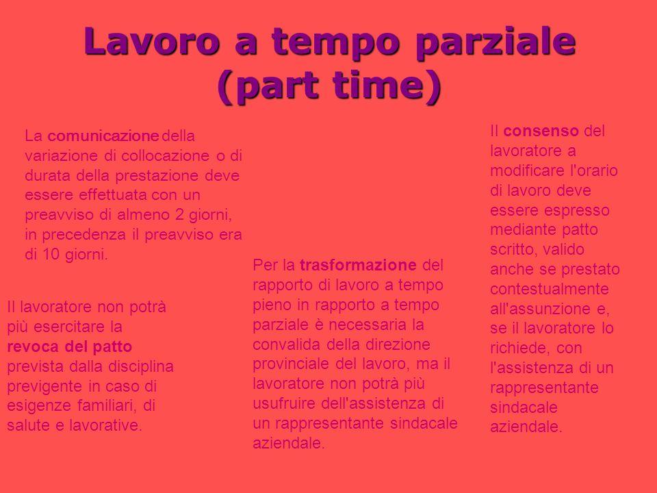 Lavoro a tempo parziale (part time) La comunicazione della variazione di collocazione o di durata della prestazione deve essere effettuata con un prea