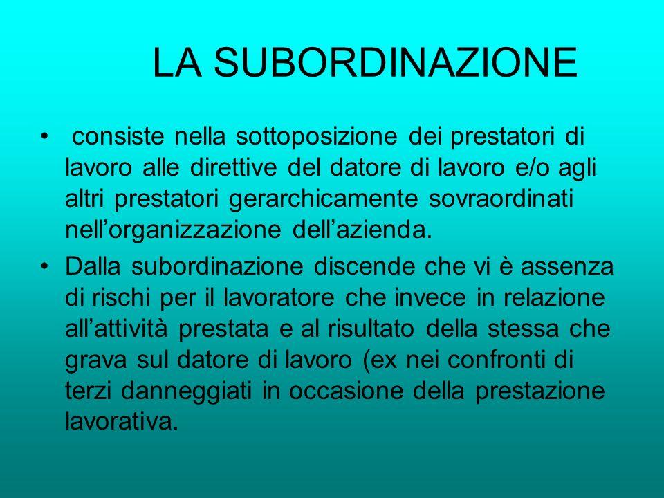 LA SUBORDINAZIONE consiste nella sottoposizione dei prestatori di lavoro alle direttive del datore di lavoro e/o agli altri prestatori gerarchicamente
