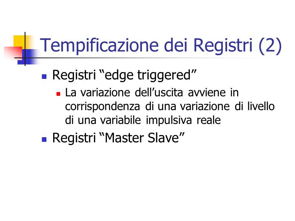 Tempificazione dei Registri (2) Registri edge triggered La variazione delluscita avviene in corrispondenza di una variazione di livello di una variabi