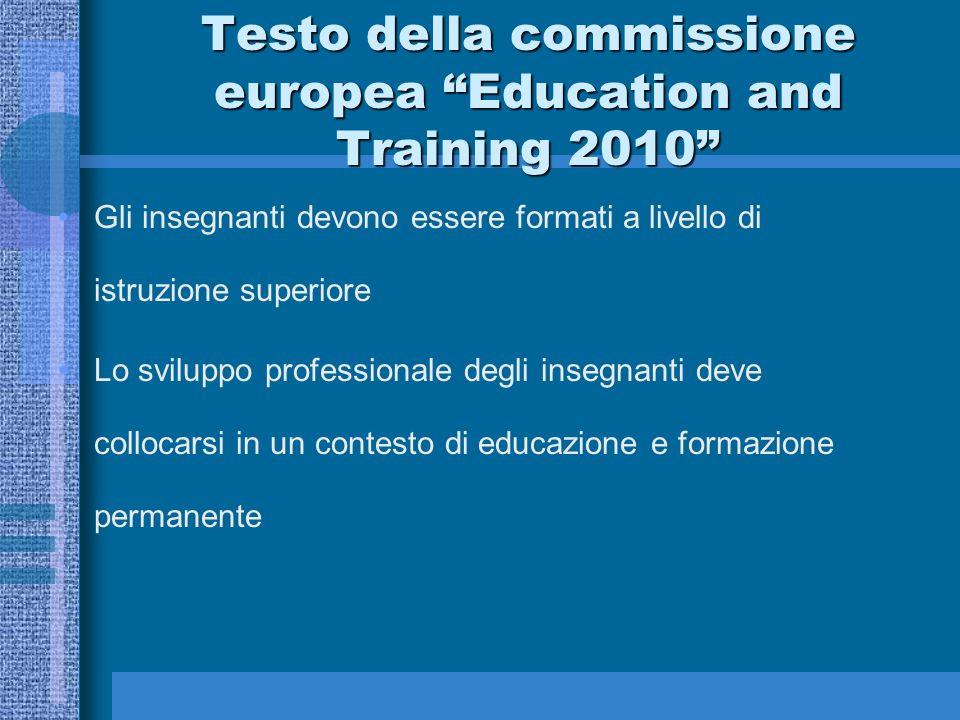 Testo della commissione europea Education and Training 2010 Gli insegnanti devono essere formati a livello di istruzione superiore Lo sviluppo profess