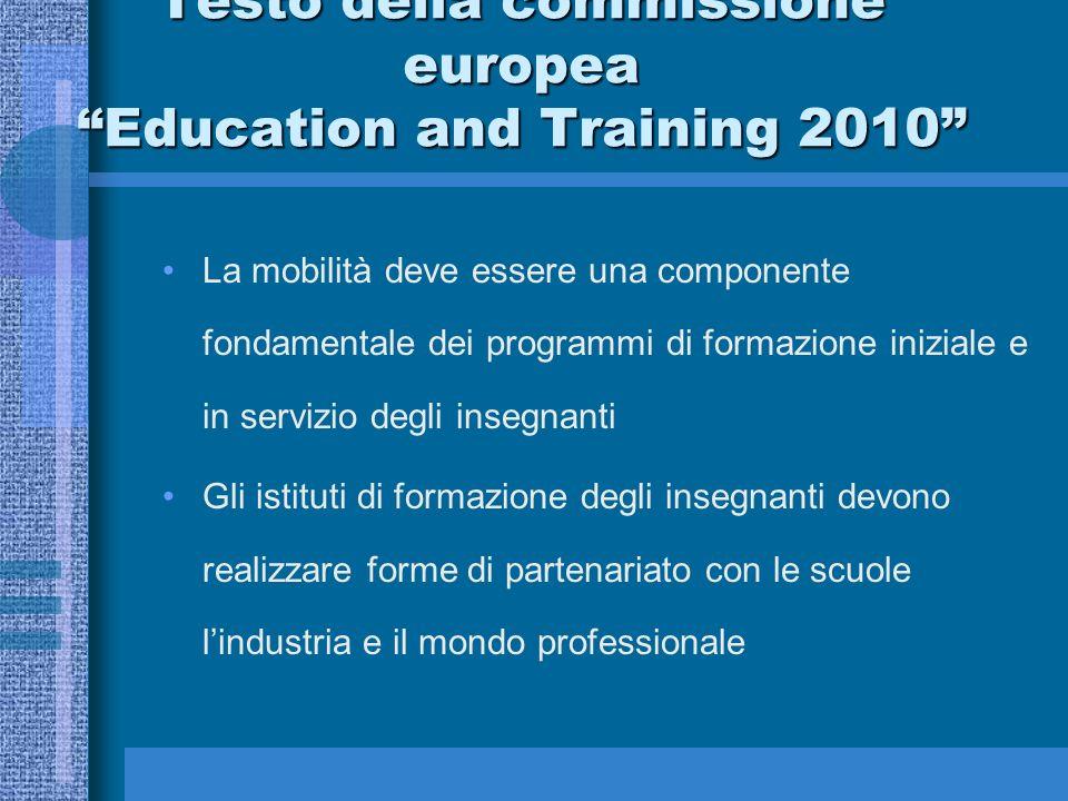 La mobilità deve essere una componente fondamentale dei programmi di formazione iniziale e in servizio degli insegnanti Gli istituti di formazione deg