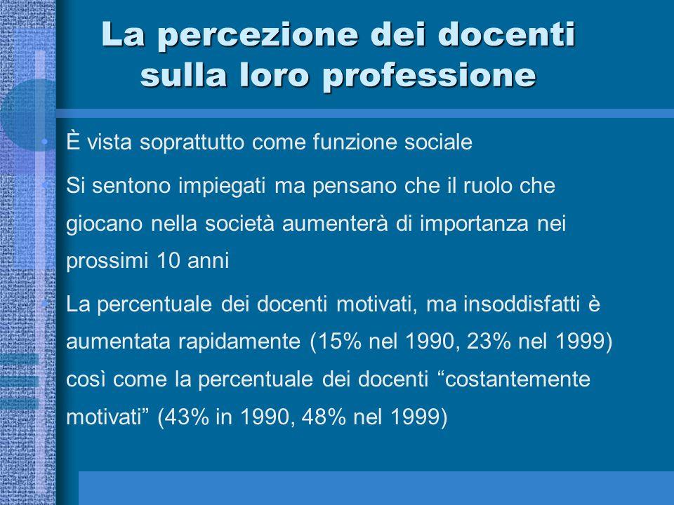 La percezione dei docenti sulla loro professione È vista soprattutto come funzione sociale Si sentono impiegati ma pensano che il ruolo che giocano ne