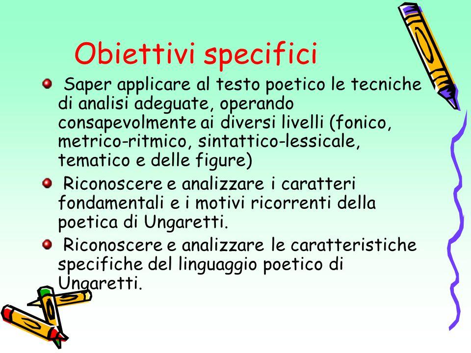 Obiettivi specifici Saper applicare al testo poetico le tecniche di analisi adeguate, operando consapevolmente ai diversi livelli (fonico, metrico-rit