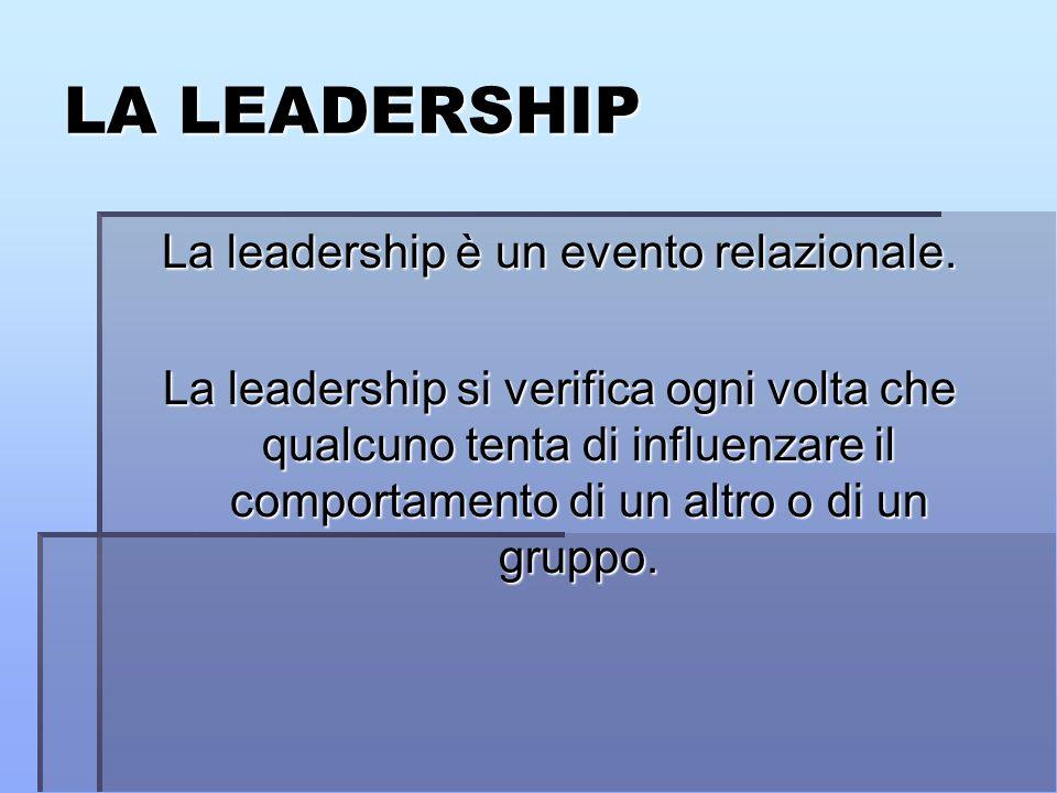 LA LEADERSHIP La leadership è un evento relazionale.