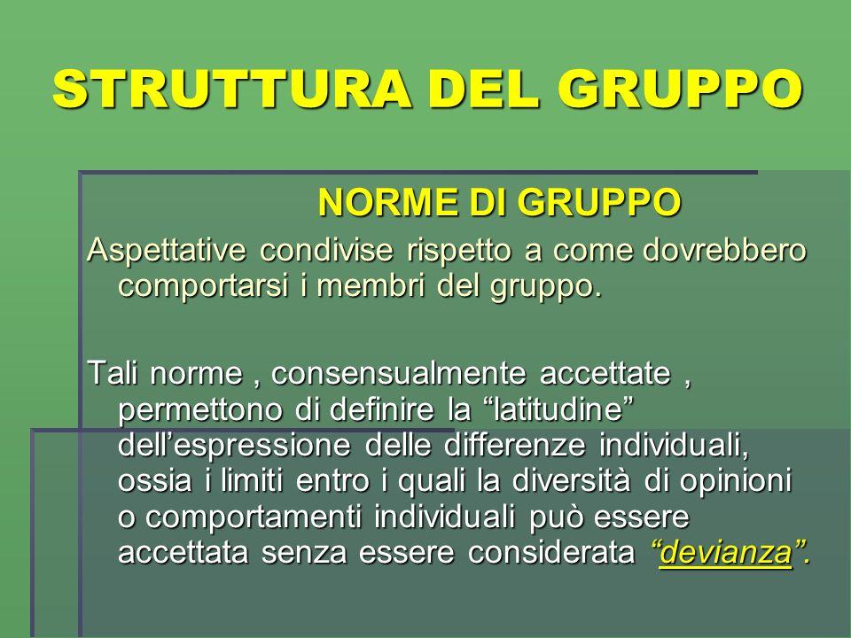 STRUTTURA DEL GRUPPO NORME DI GRUPPO NORME DI GRUPPO Aspettative condivise rispetto a come dovrebbero comportarsi i membri del gruppo.