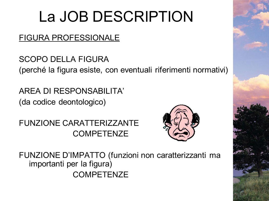 La JOB DESCRIPTION FIGURA PROFESSIONALE SCOPO DELLA FIGURA (perché la figura esiste, con eventuali riferimenti normativi) AREA DI RESPONSABILITA (da c