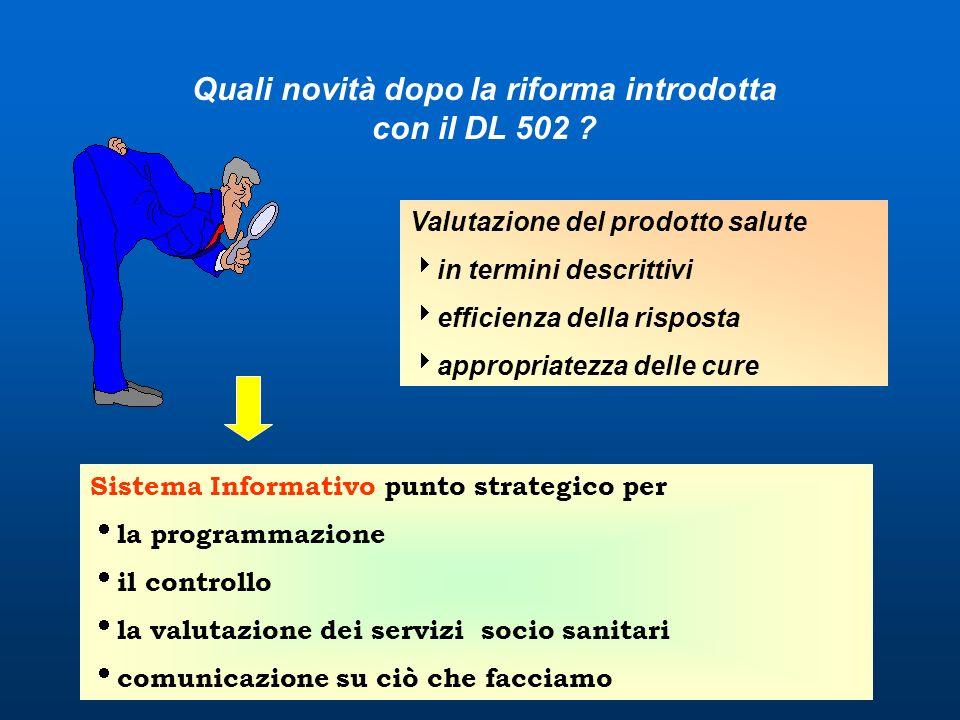 Quali novità dopo la riforma introdotta con il DL 502 ? Valutazione del prodotto salute in termini descrittivi efficienza della risposta appropriatezz