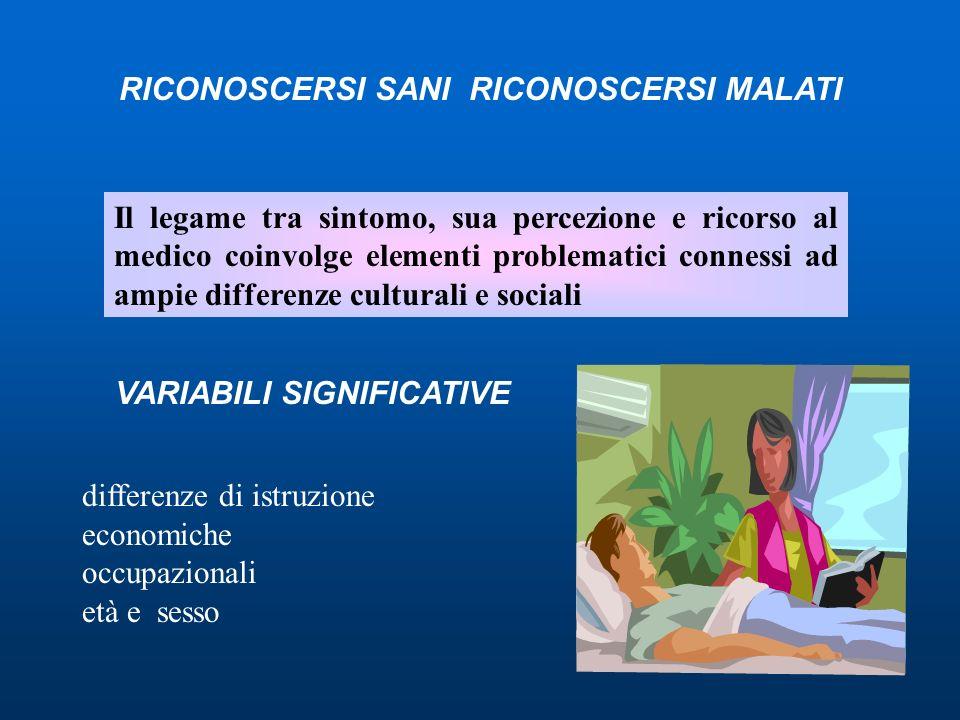 Il legame tra sintomo, sua percezione e ricorso al medico coinvolge elementi problematici connessi ad ampie differenze culturali e sociali VARIABILI S