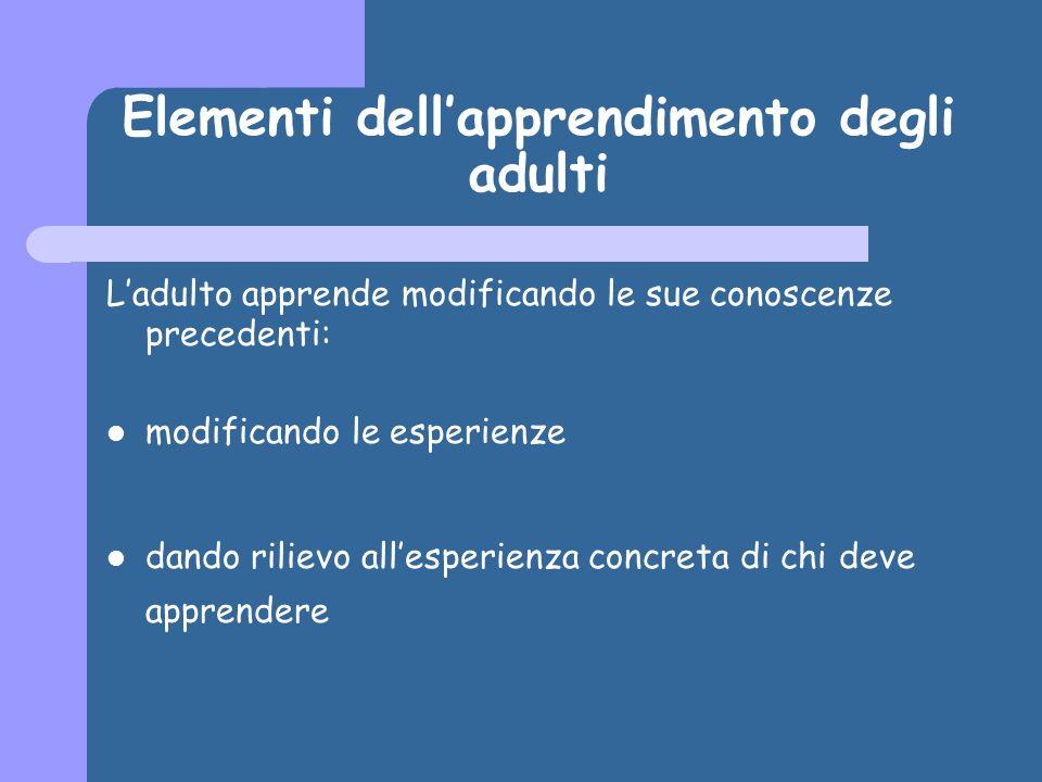 Elementi dellapprendimento degli adulti Ladulto apprende modificando le sue conoscenze precedenti: modificando le esperienze dando rilievo allesperien