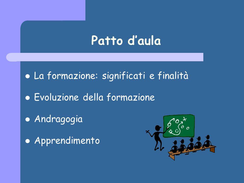 Patto daula La formazione: significati e finalità Evoluzione della formazione Andragogia Apprendimento