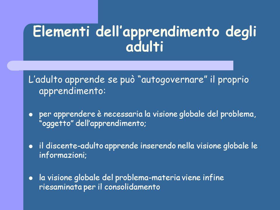 Elementi dellapprendimento degli adulti Ladulto apprende se può autogovernare il proprio apprendimento: per apprendere è necessaria la visione globale