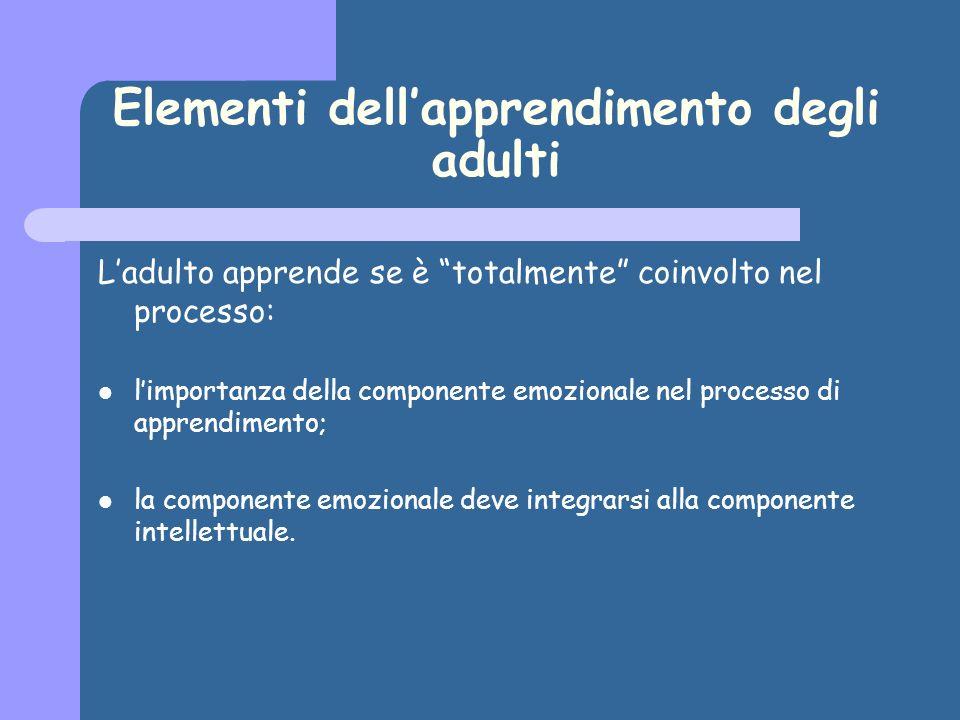 Elementi dellapprendimento degli adulti Ladulto apprende se è totalmente coinvolto nel processo: limportanza della componente emozionale nel processo