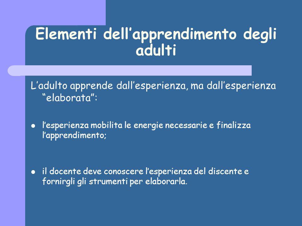 Elementi dellapprendimento degli adulti Ladulto apprende dallesperienza, ma dallesperienza elaborata: lesperienza mobilita le energie necessarie e fin