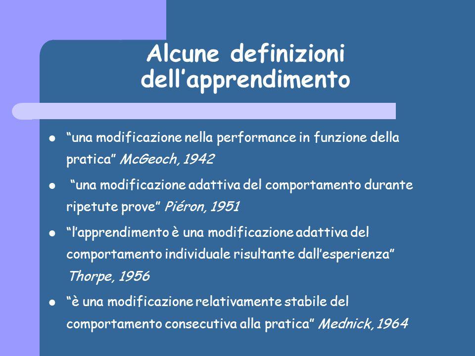 Alcune definizioni dellapprendimento una modificazione nella performance in funzione della pratica McGeoch, 1942 una modificazione adattiva del compor