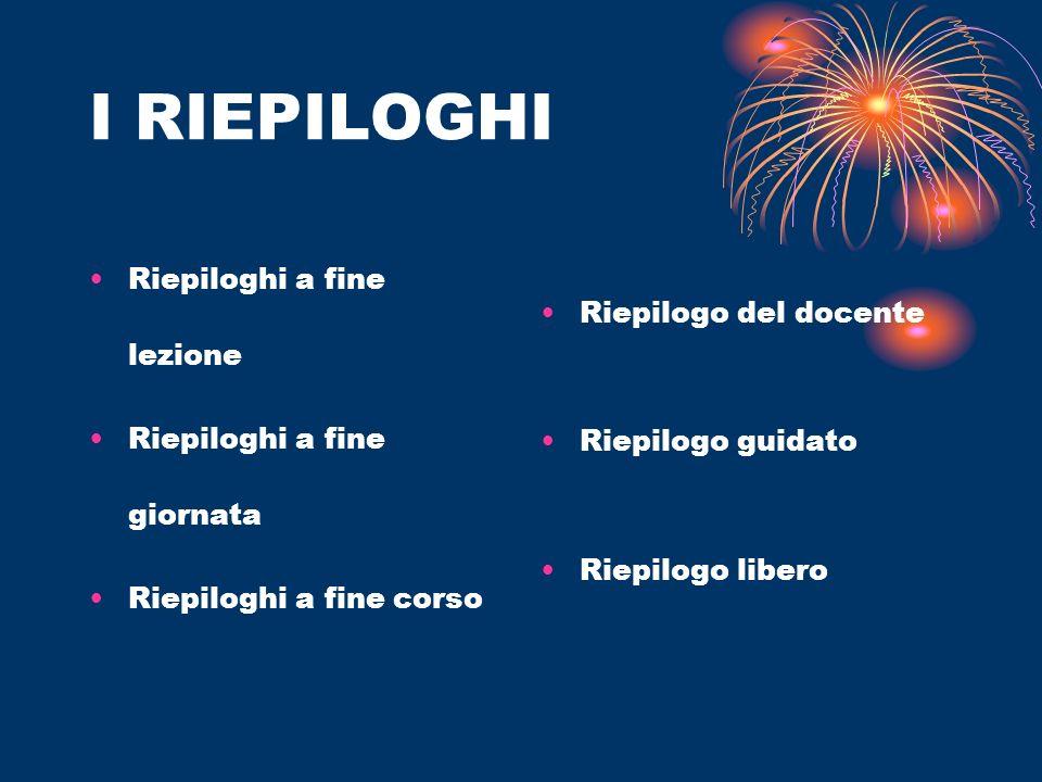 I RIEPILOGHI Riepiloghi a fine lezione Riepiloghi a fine giornata Riepiloghi a fine corso Riepilogo del docente Riepilogo guidato Riepilogo libero