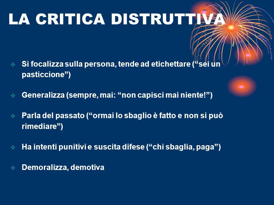 LA CRITICA DISTRUTTIVA Si focalizza sulla persona, tende ad etichettare (sei un pasticcione) Generalizza (sempre, mai: non capisci mai niente!) Parla