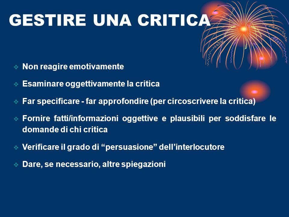 GESTIRE UNA CRITICA Non reagire emotivamente Esaminare oggettivamente la critica Far specificare - far approfondire (per circoscrivere la critica) For