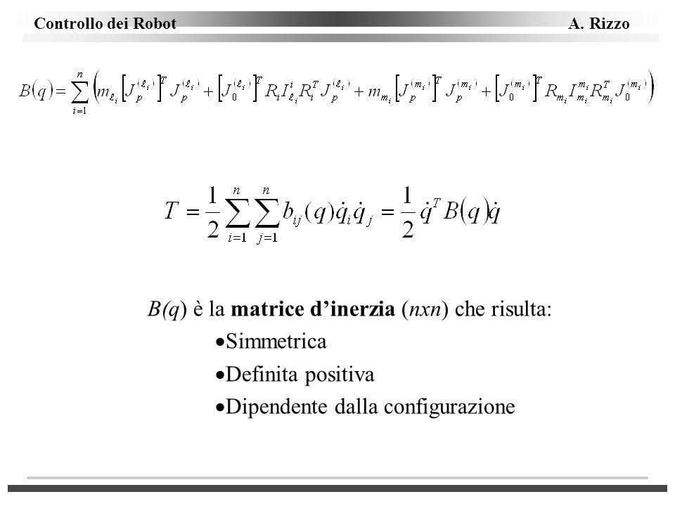 B(q) è la matrice dinerzia (nxn) che risulta: Simmetrica Definita positiva Dipendente dalla configurazione