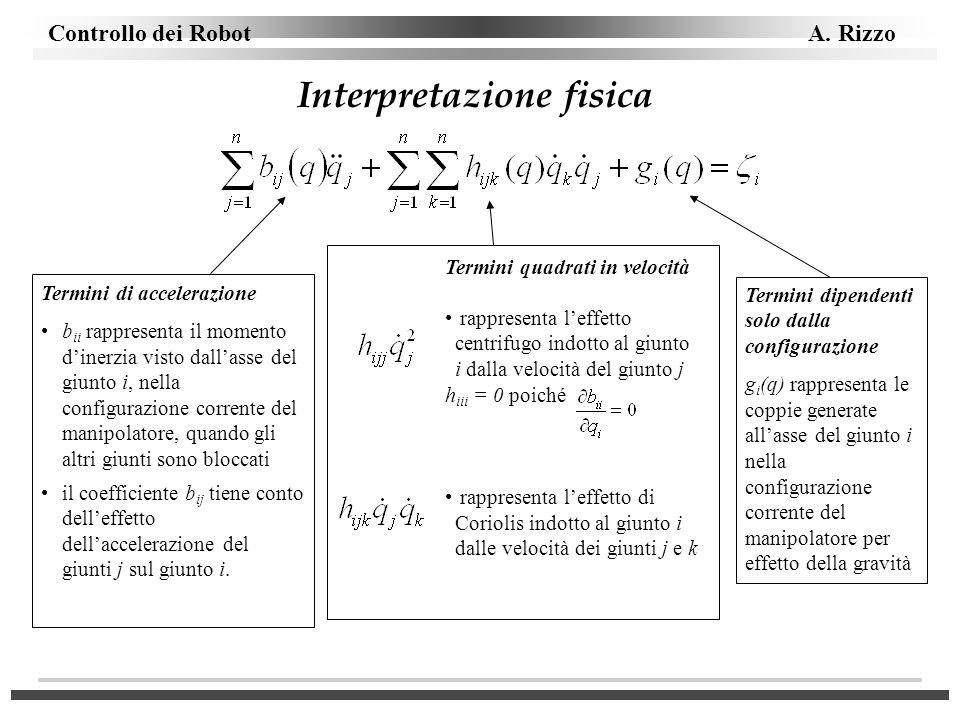 Controllo dei Robot A. Rizzo Interpretazione fisica Termini di accelerazione b ii rappresenta il momento dinerzia visto dallasse del giunto i, nella c
