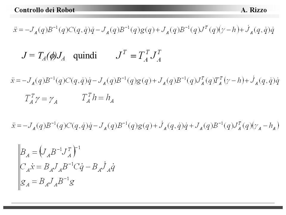 Controllo dei Robot A. Rizzo J = T A ( )J A quindi