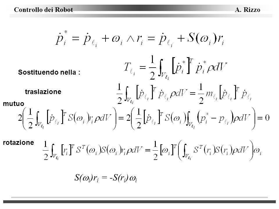 Controllo dei Robot A. Rizzo Sostituendo nella : traslazione mutuo rotazione S( i )r i = -S(r i ) i
