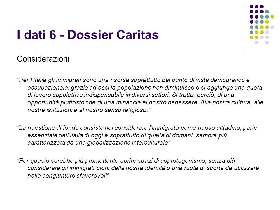I dati 6 - Dossier Caritas Considerazioni Per lItalia gli immigrati sono una risorsa soprattutto dal punto di vista demografico e occupazionale: grazi