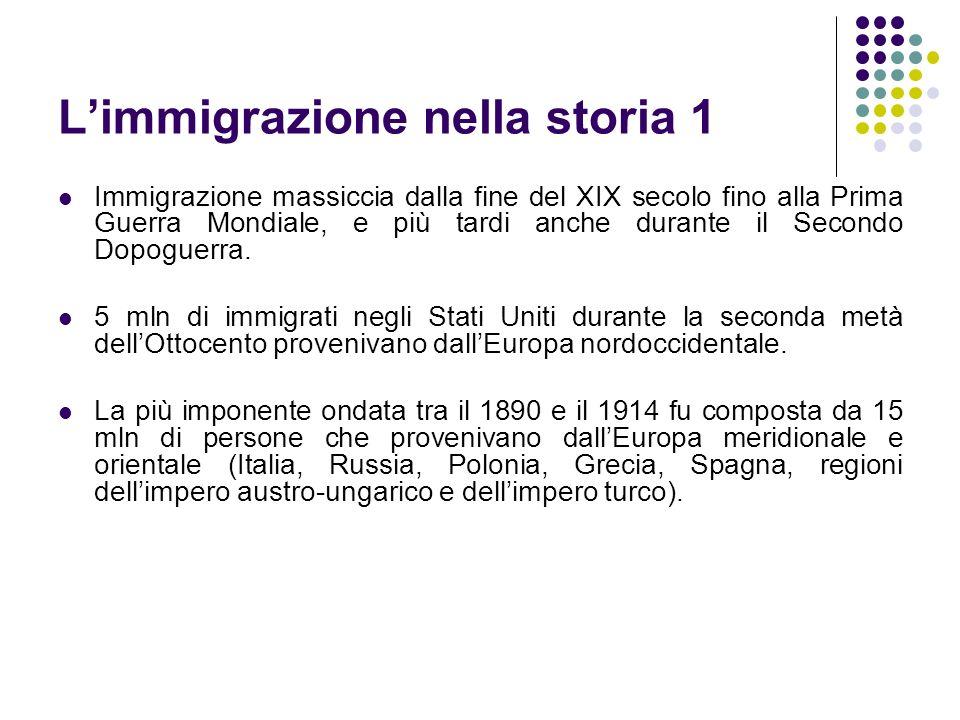 Limmigrazione nella storia 1 Immigrazione massiccia dalla fine del XIX secolo fino alla Prima Guerra Mondiale, e più tardi anche durante il Secondo Do