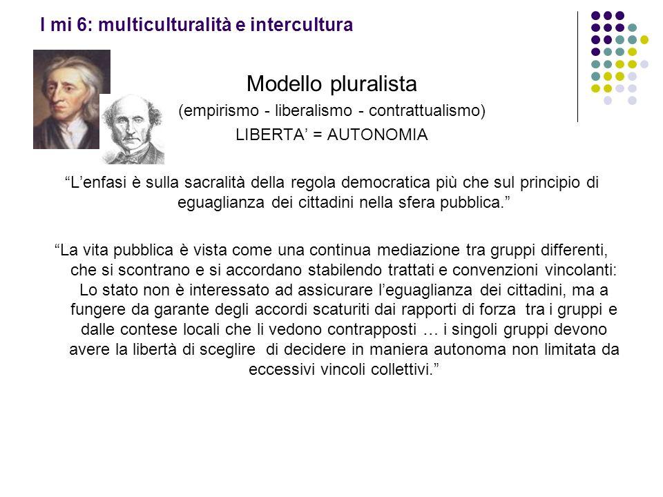 I mi 6: multiculturalità e intercultura Modello pluralista (empirismo - liberalismo - contrattualismo) LIBERTA = AUTONOMIA Lenfasi è sulla sacralità d