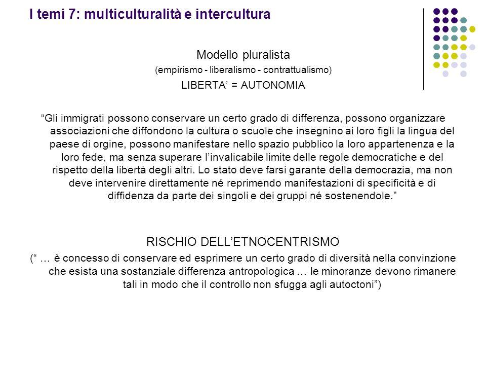 I temi 7: multiculturalità e intercultura Modello pluralista (empirismo - liberalismo - contrattualismo) LIBERTA = AUTONOMIA Gli immigrati possono con