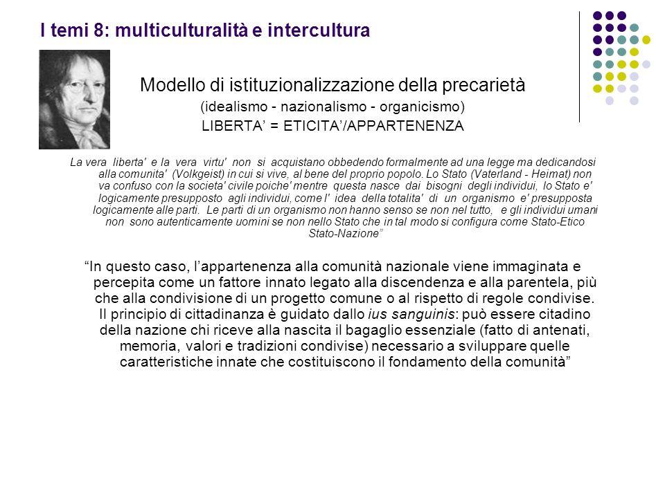 I temi 8: multiculturalità e intercultura Modello di istituzionalizzazione della precarietà (idealismo - nazionalismo - organicismo) LIBERTA = ETICITA