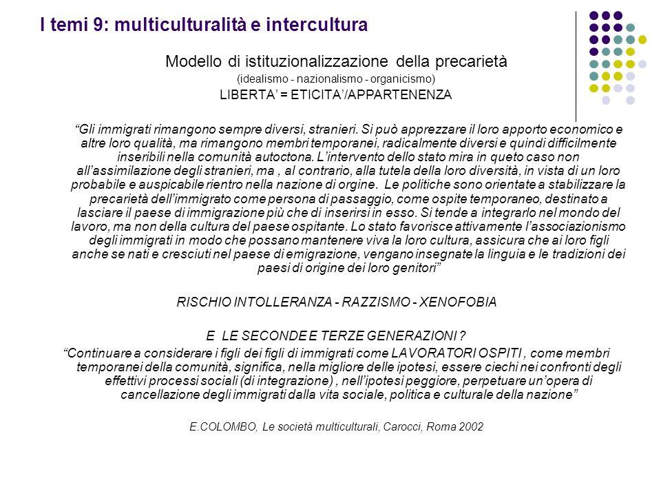 I temi 9: multiculturalità e intercultura Modello di istituzionalizzazione della precarietà (idealismo - nazionalismo - organicismo) LIBERTA = ETICITA