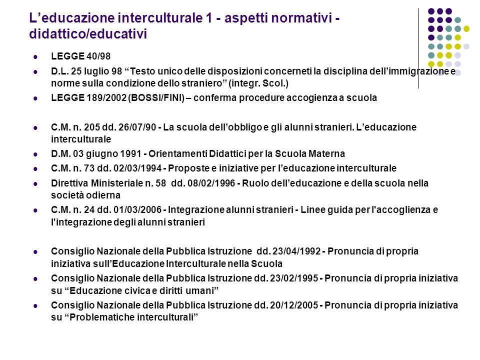 Leducazione interculturale 1 - aspetti normativi - didattico/educativi LEGGE 40/98 D.L. 25 luglio 98 Testo unico delle disposizioni concerneti la disc