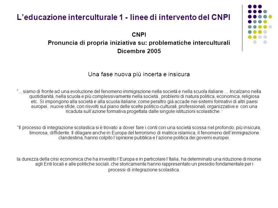 Leducazione interculturale 1 - linee di intervento del CNPI CNPI Pronuncia di propria iniziativa su: problematiche interculturali Dicembre 2005 Una fa