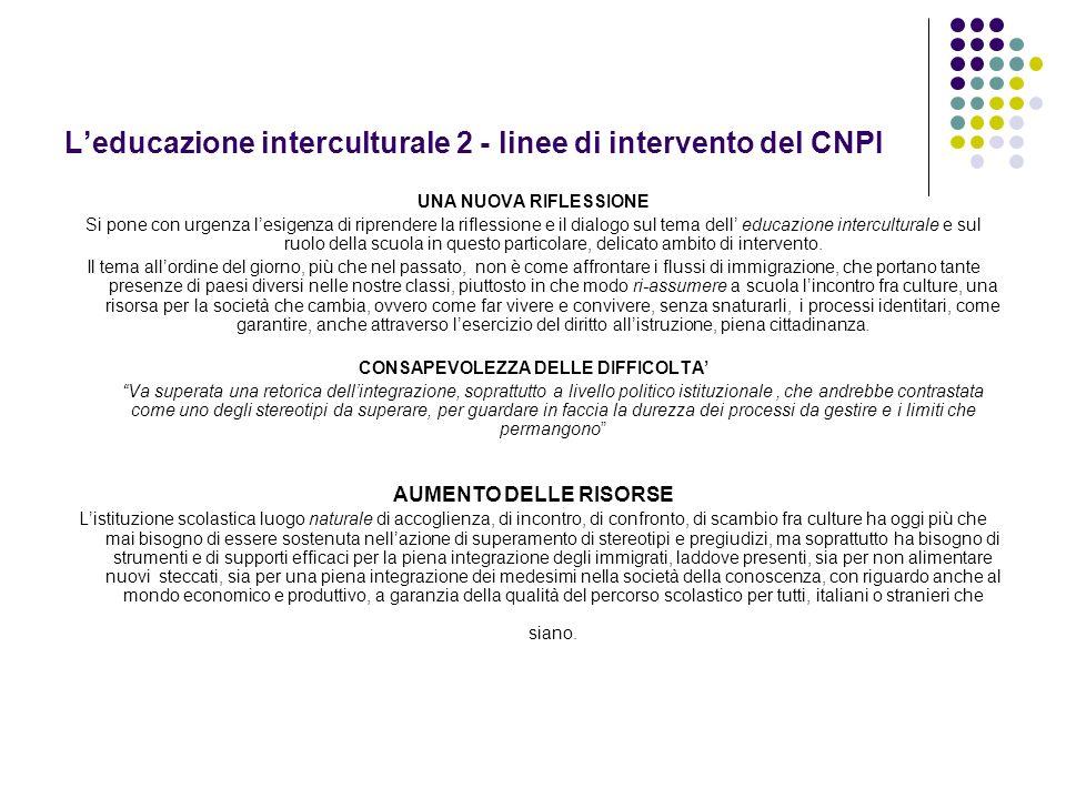 Leducazione interculturale 2 - linee di intervento del CNPI UNA NUOVA RIFLESSIONE Si pone con urgenza lesigenza di riprendere la riflessione e il dial