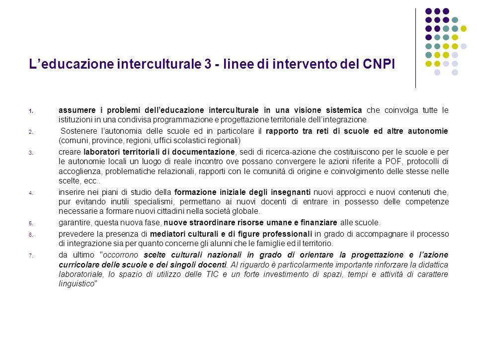 Leducazione interculturale 3 - linee di intervento del CNPI 1. assumere i problemi delleducazione interculturale in una visione sistemica che coinvolg