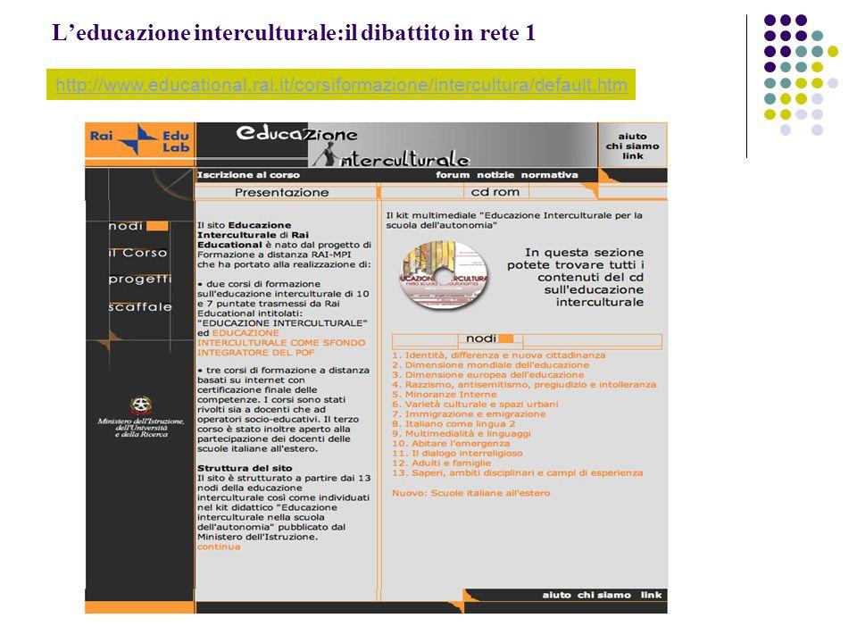 Leducazione interculturale:il dibattito in rete 1 http://www.educational.rai.it/corsiformazione/intercultura/default.htm