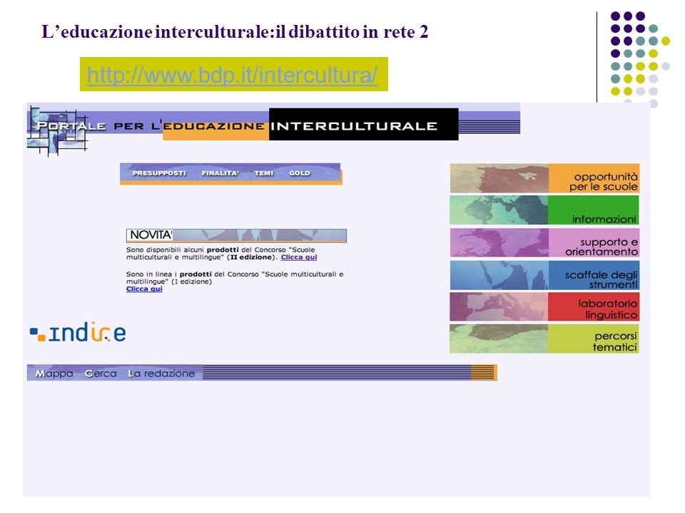 Leducazione interculturale:il dibattito in rete 2 http://www.bdp.it/intercultura/