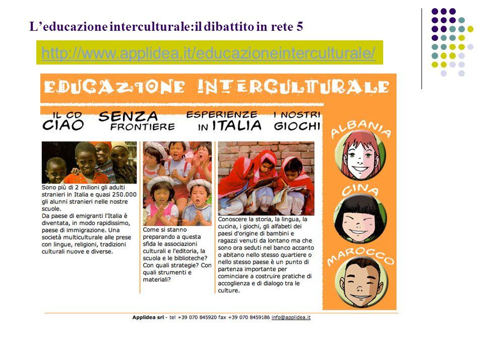 Leducazione interculturale:il dibattito in rete 5 http://www.applidea.it/educazioneinterculturale/
