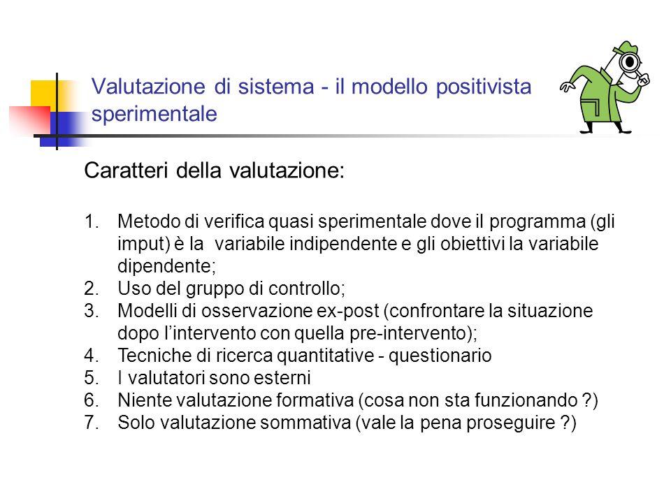 Valutazione di sistema - il modello positivista sperimentale Caratteri della valutazione: 1.Metodo di verifica quasi sperimentale dove il programma (gli imput) è la variabile indipendente e gli obiettivi la variabile dipendente; 2.Uso del gruppo di controllo; 3.Modelli di osservazione ex-post (confrontare la situazione dopo lintervento con quella pre-intervento); 4.Tecniche di ricerca quantitative - questionario 5.I valutatori sono esterni 6.Niente valutazione formativa (cosa non sta funzionando ) 7.Solo valutazione sommativa (vale la pena proseguire )