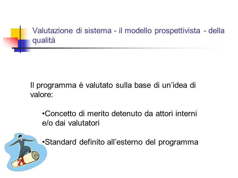 Valutazione di sistema - il modello prospettivista - della qualità Il programma è valutato sulla base di unidea di valore: Concetto di merito detenuto da attori interni e/o dai valutatori Standard definito allesterno del programma