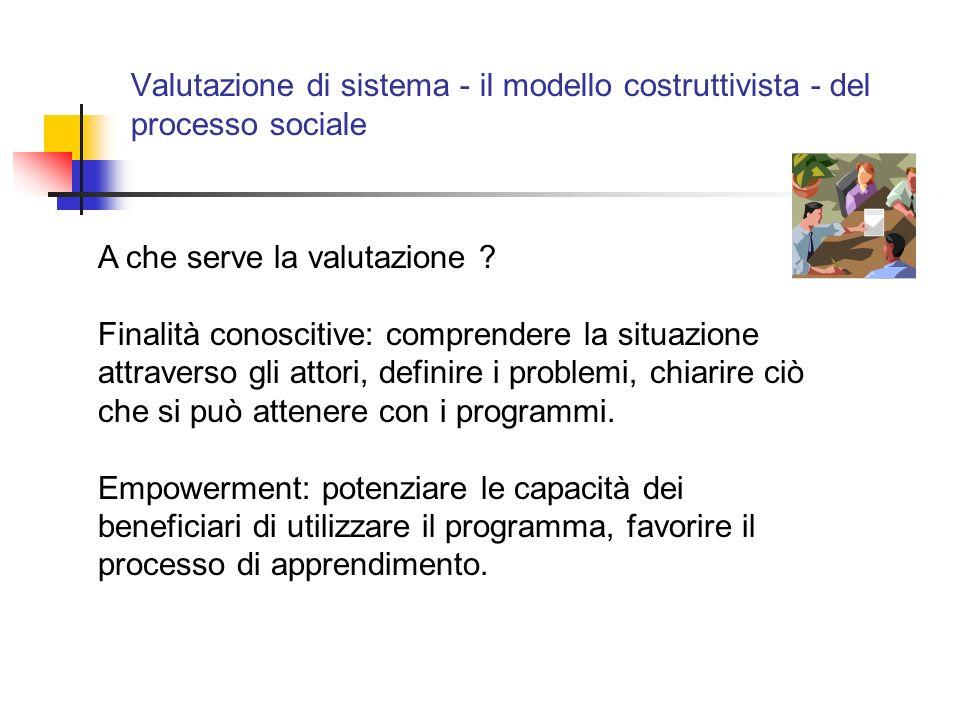 Valutazione di sistema - il modello costruttivista - del processo sociale A che serve la valutazione .