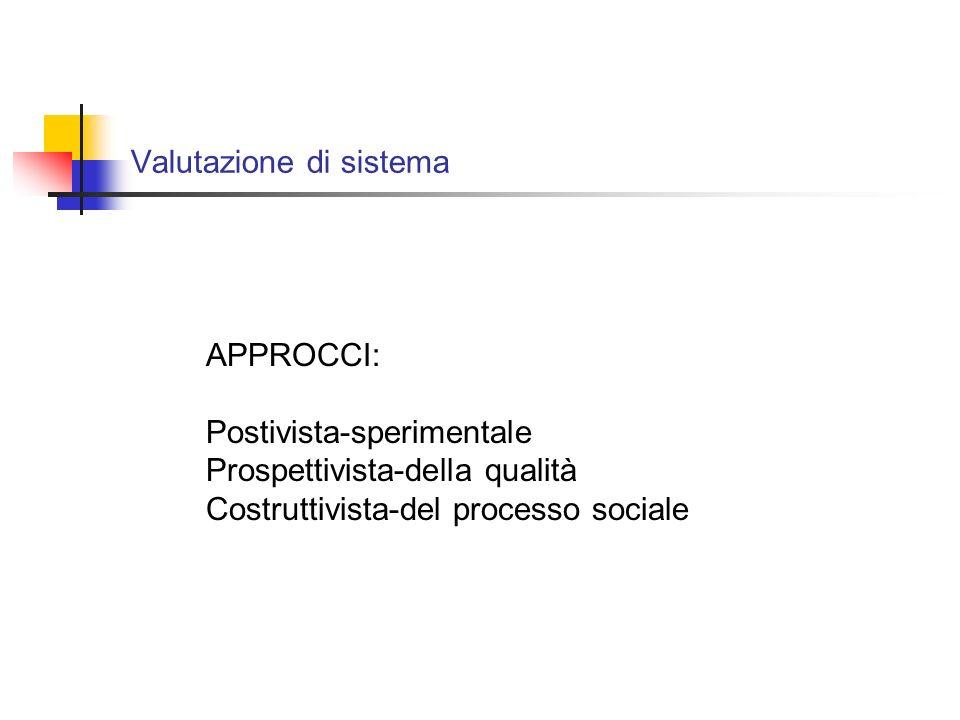 Valutazione di sistema APPROCCI: Postivista-sperimentale Prospettivista-della qualità Costruttivista-del processo sociale