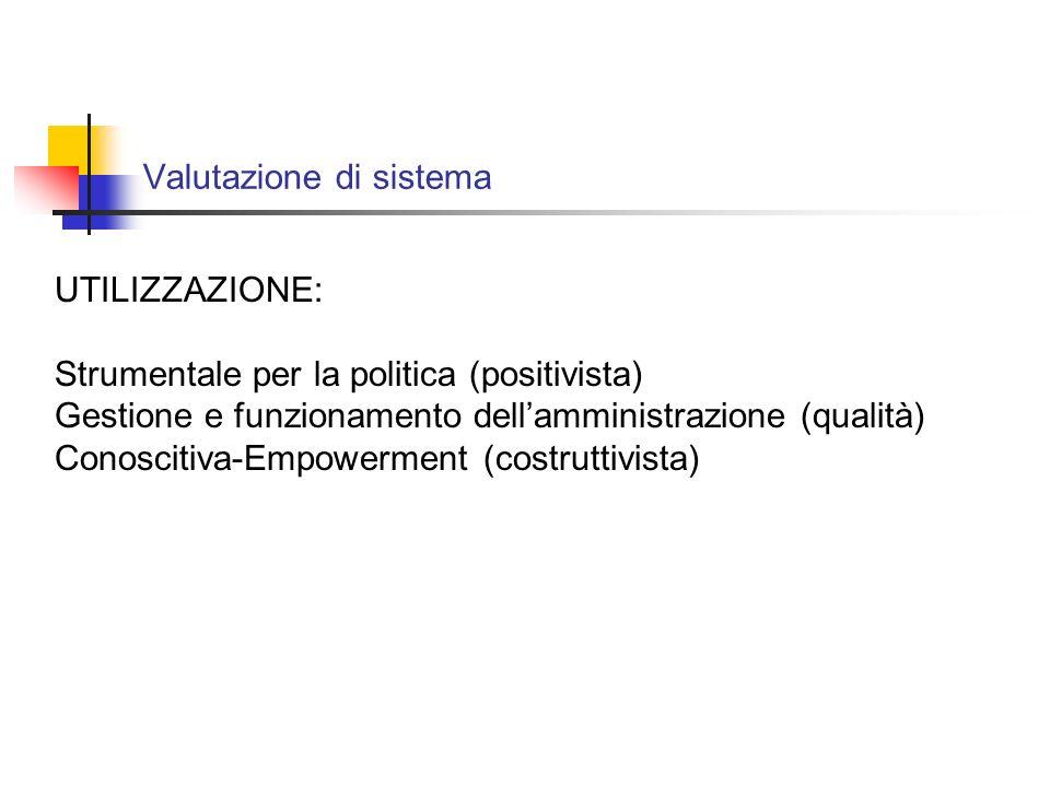 Valutazione di sistema UTILIZZAZIONE: Strumentale per la politica (positivista) Gestione e funzionamento dellamministrazione (qualità) Conoscitiva-Empowerment (costruttivista)